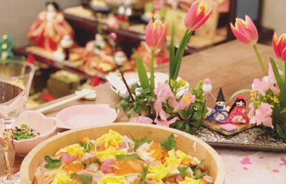 お雛様祭りのテーブルコーディネート